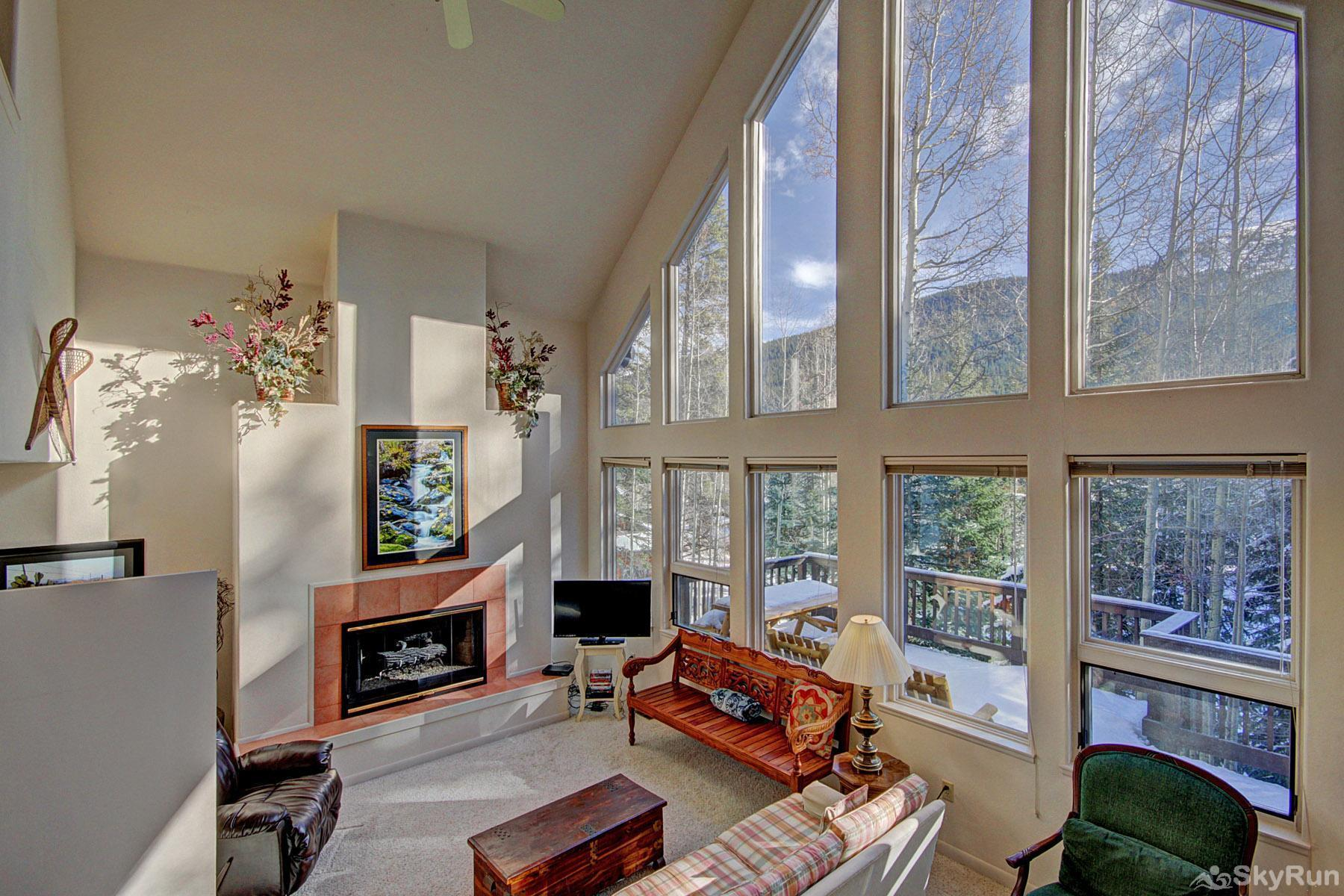 Aspen House Living Room with large picture windows