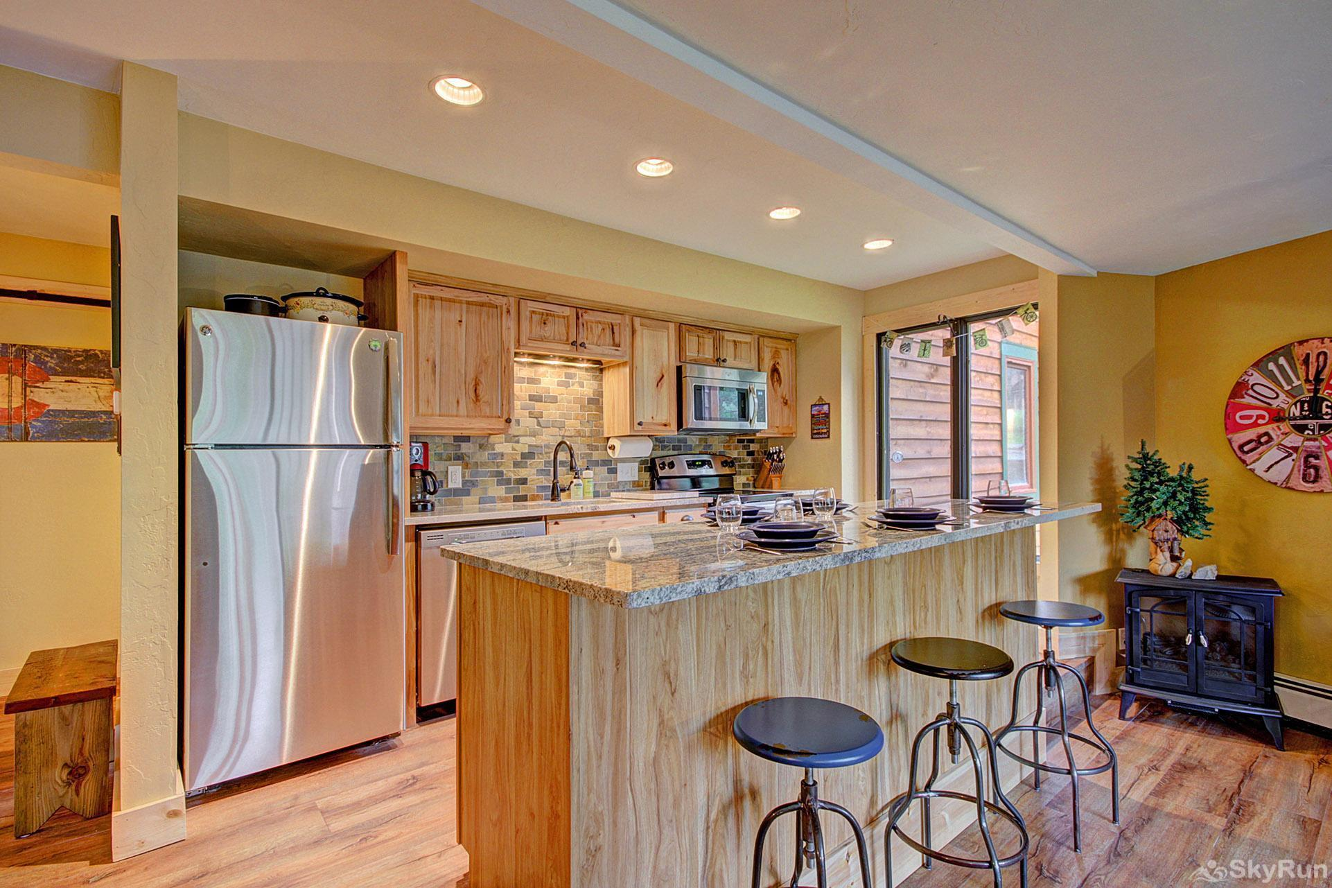 Peak 8 Village D24 Kitchen with stainless steel appliances