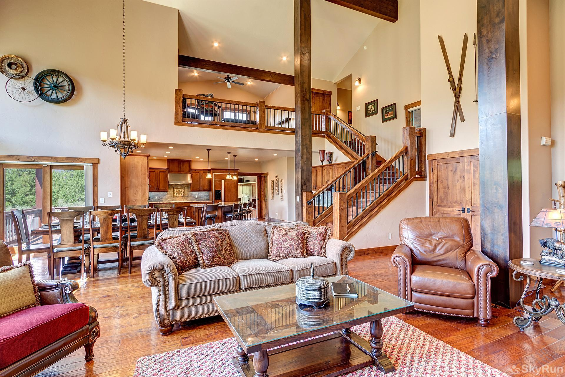Swan River Retreat Spacious living room with high vaulted ceilings