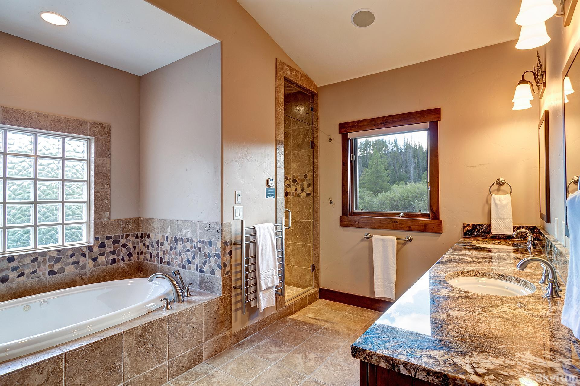 Swan River Retreat Large master bath with granite