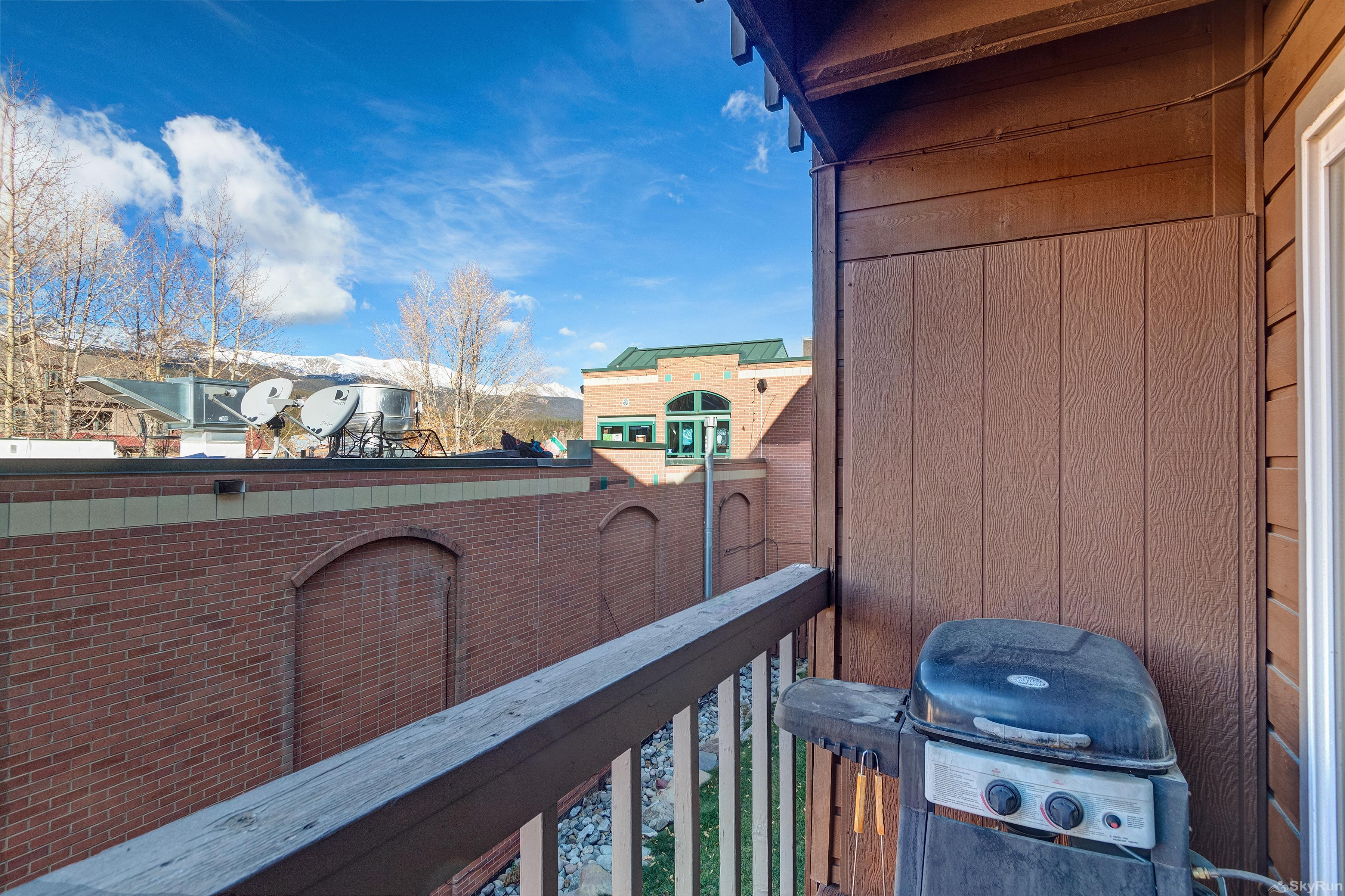 Alpine 203 Back porch with gas grill overlooking the Town of Breckenridge