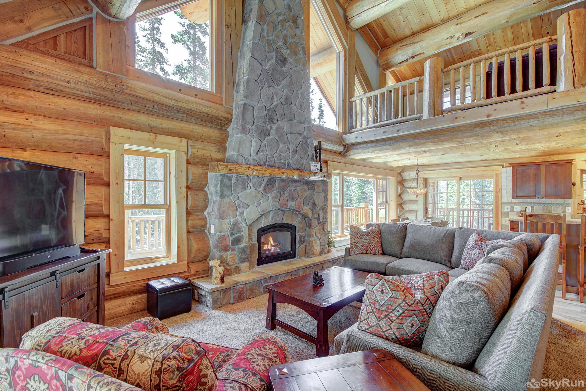 Timber Ridge Lodge Spacious living room with gas fireplace and flat screen TV