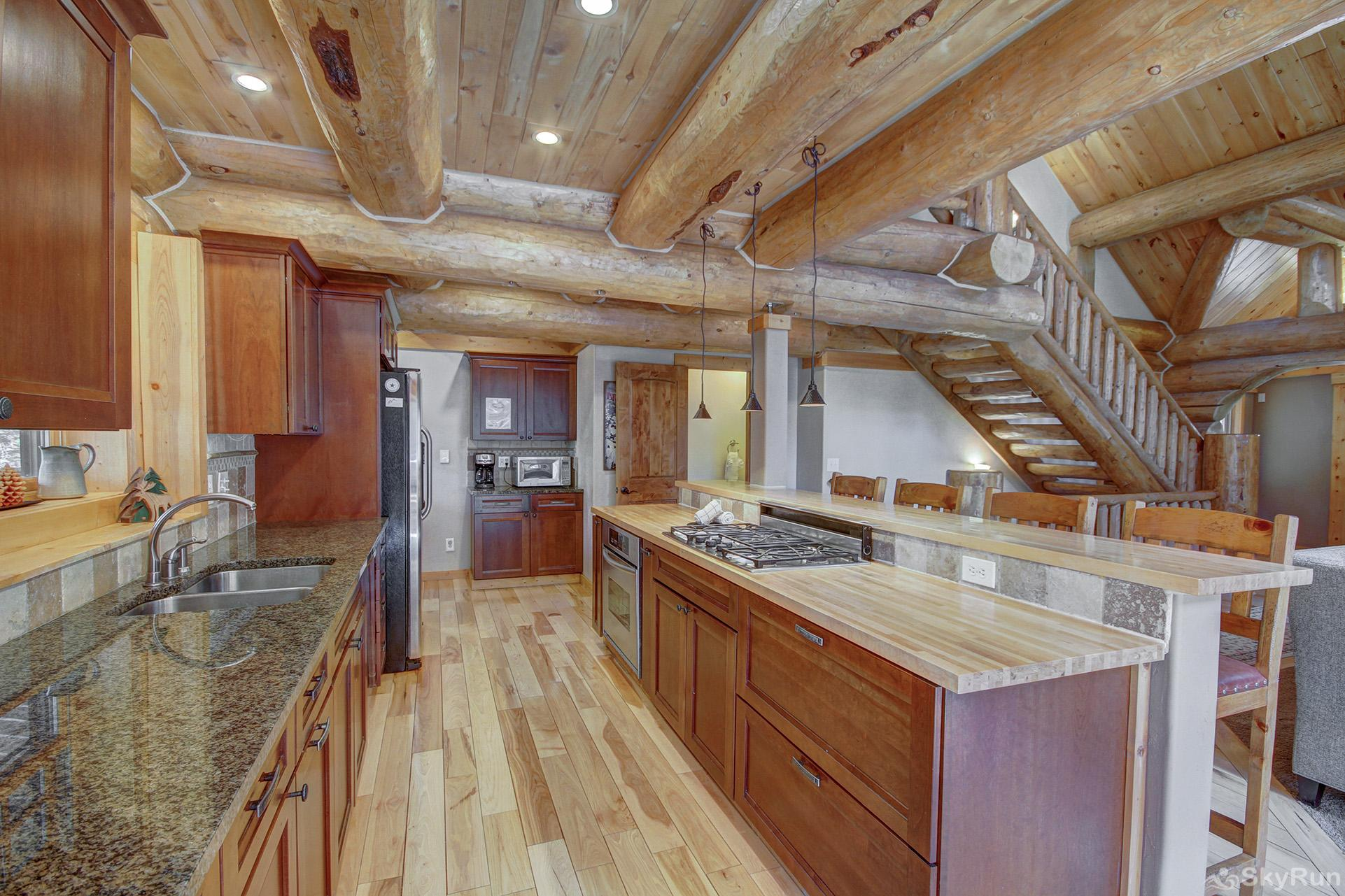 Timber Ridge Lodge Kitchen with countertop seating for 4