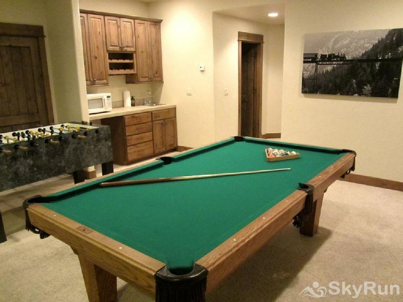 Mountain Sky Lodge Game room with pool table, foosball and home theater