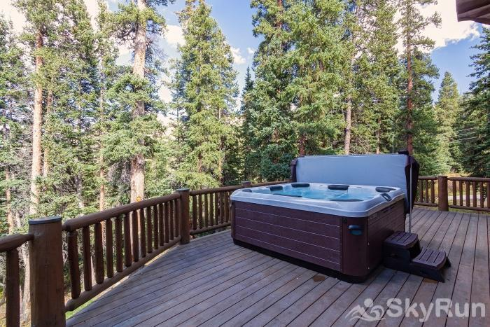 Pine Forest Lodge Large back deck with private hot tub