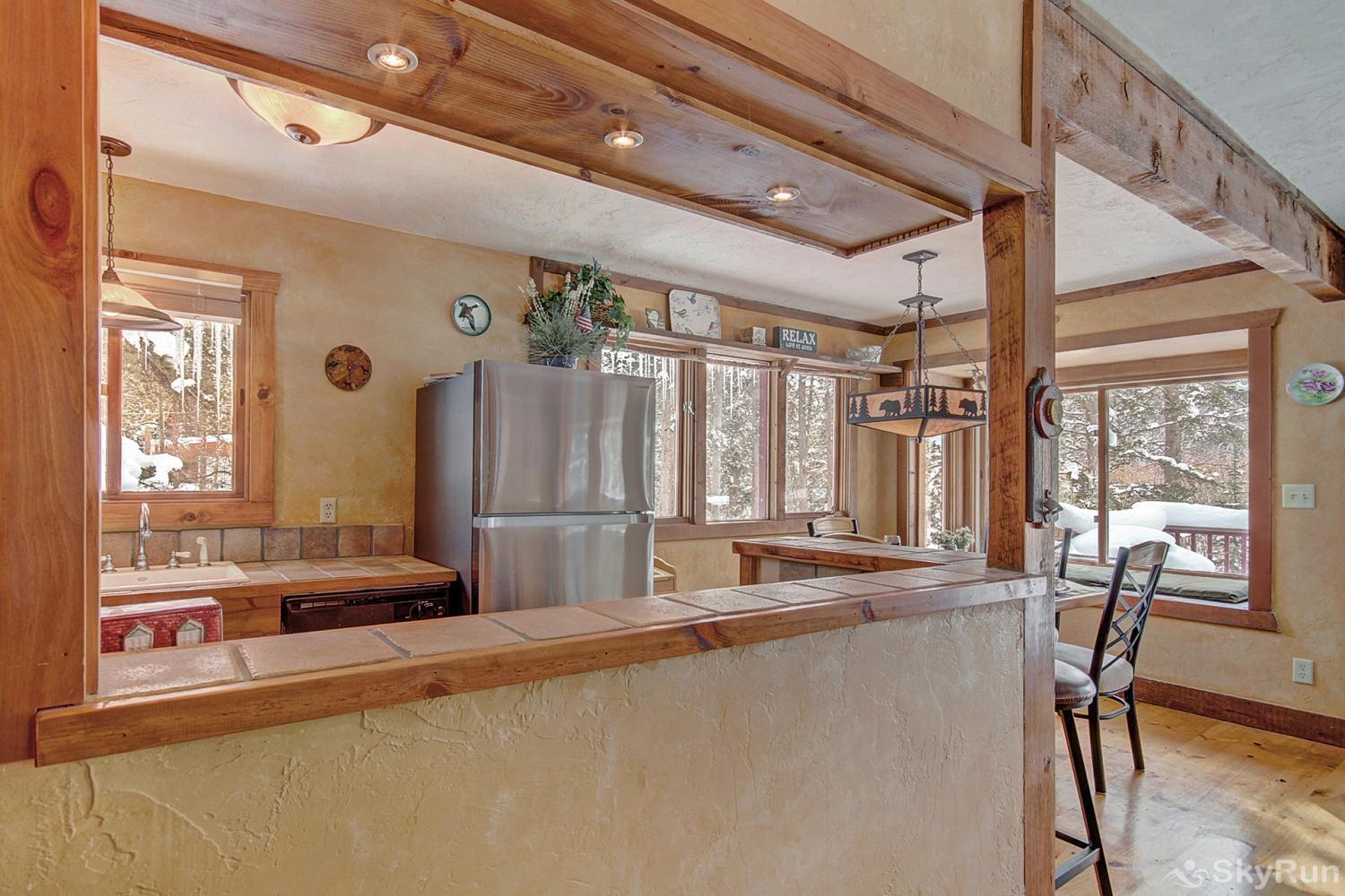 Whispering Pines View of kitchen and dining area