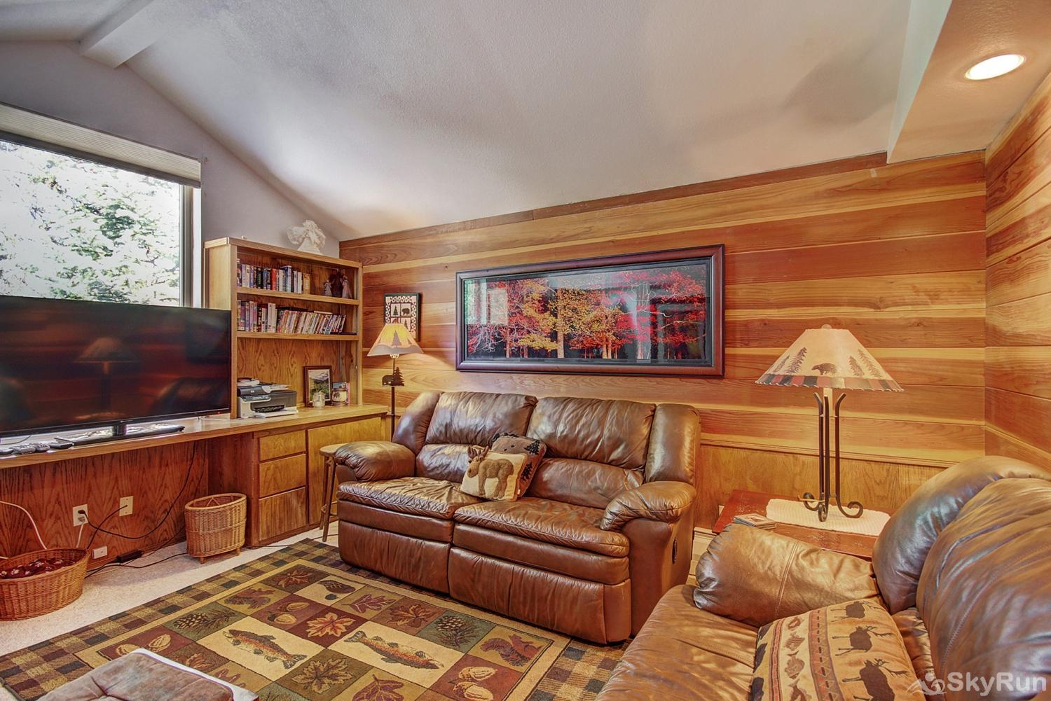 Summit View Chalet Office off living room with flat screen TV