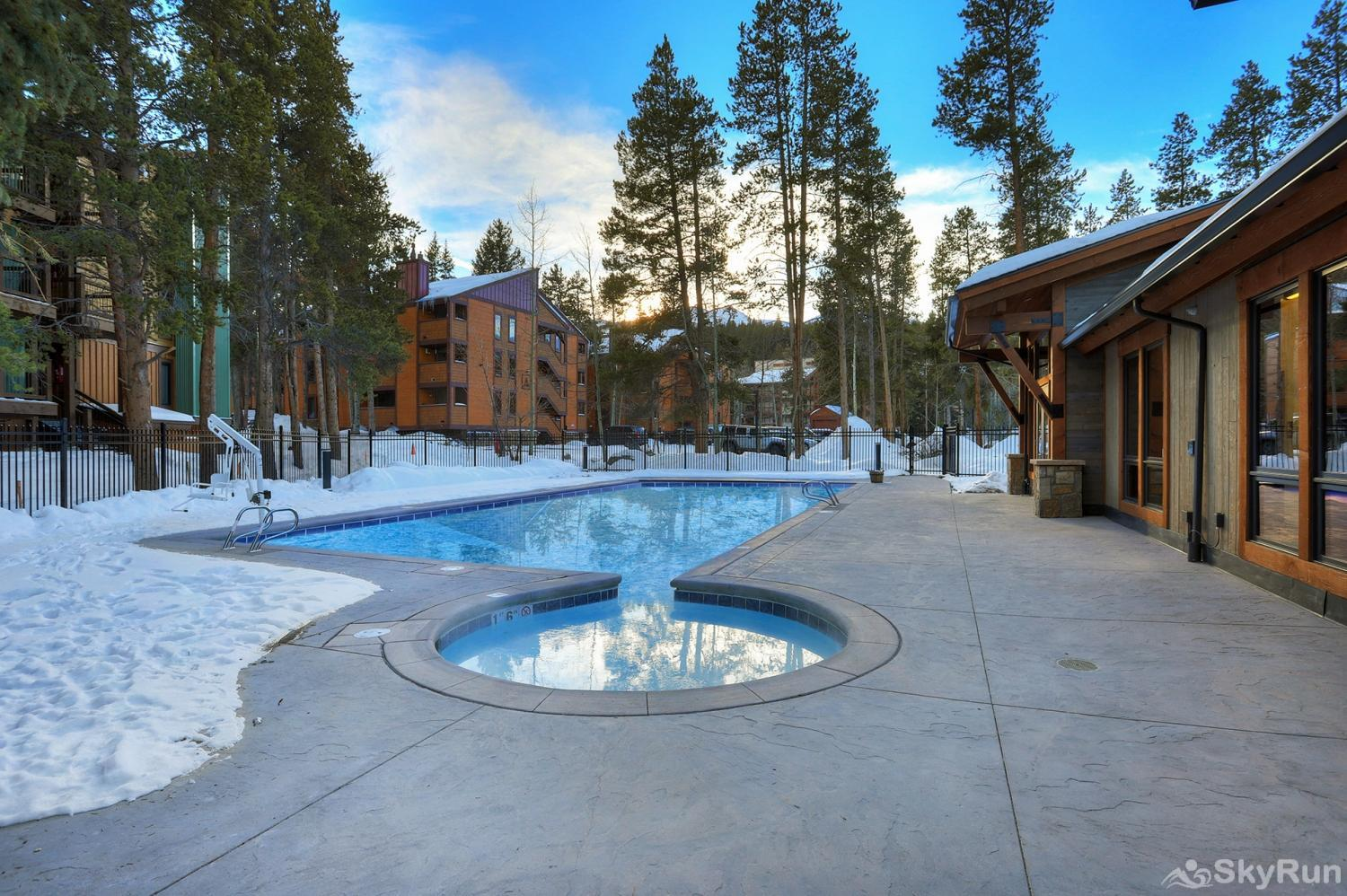 The Lift C11 Outdoor heated pool and hot tubs at the Columbine Pool Complex