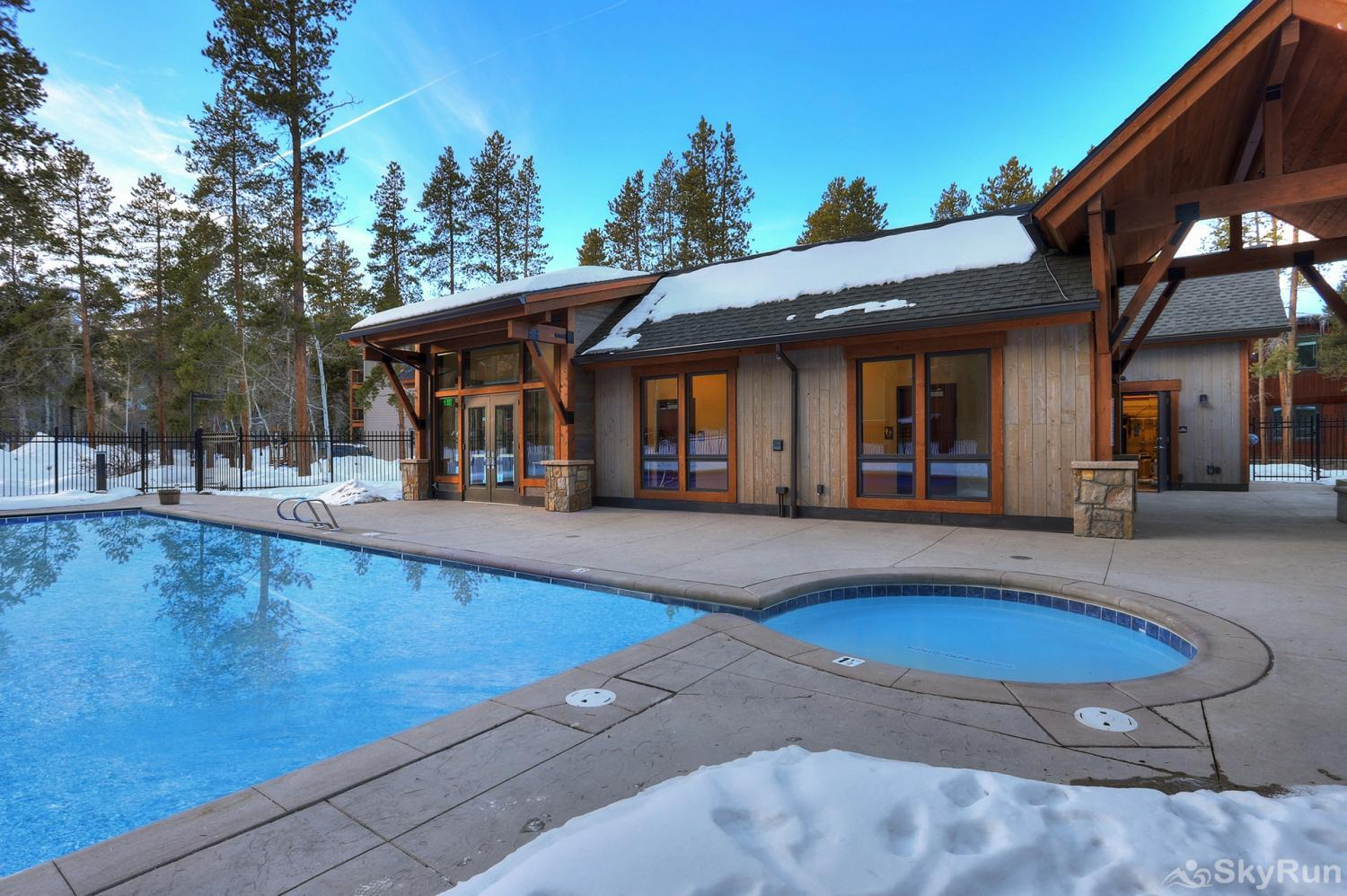 The Lift C212 Outdoor heated pool and hot tubs at the Columbine Pool Complex